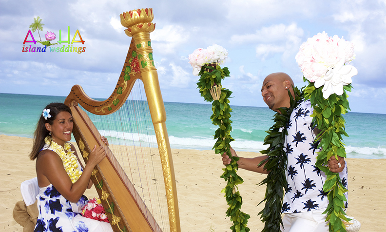 10 year vow renwal she plays the harp while her husband dances in Hawaii