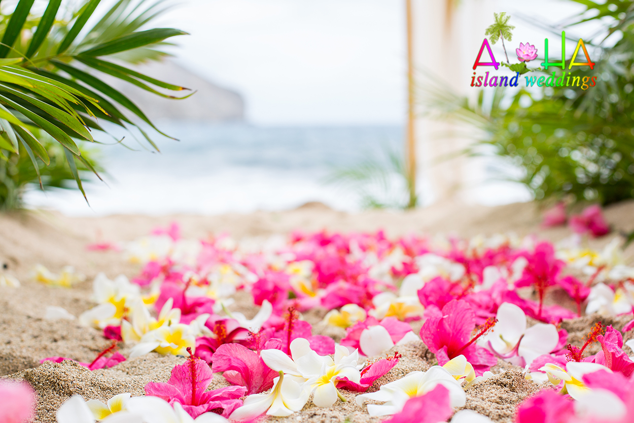 Light pink Hibiscus scattered on the sand for a beach wedding with palms and bamboo