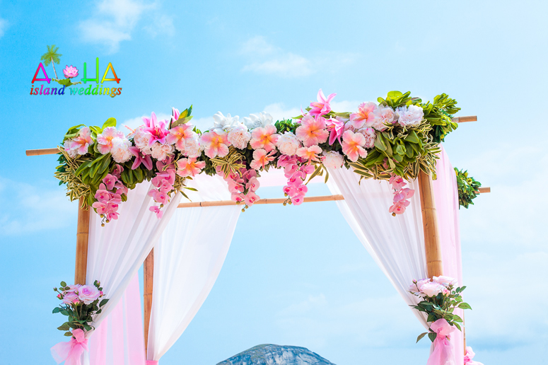 Pink tropical fantasy paradise hawaii flower arch
