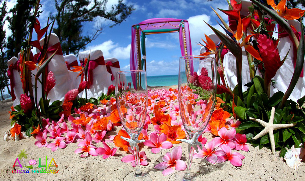 pink and orange Hawaii flowers with star fish chamagneglasses line this wedding aisle