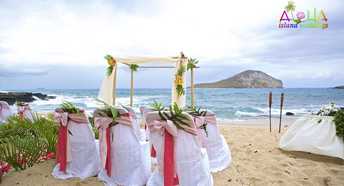 Hawaii beach wedding with pink and dark pink theme