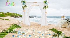 all white wedding bamboo arch with blue accents