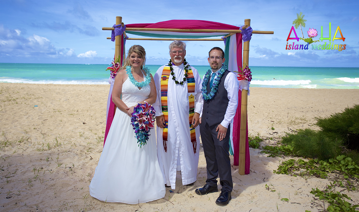 Minister in Hawaii performing a ceremony for his son and new daughter inlaws