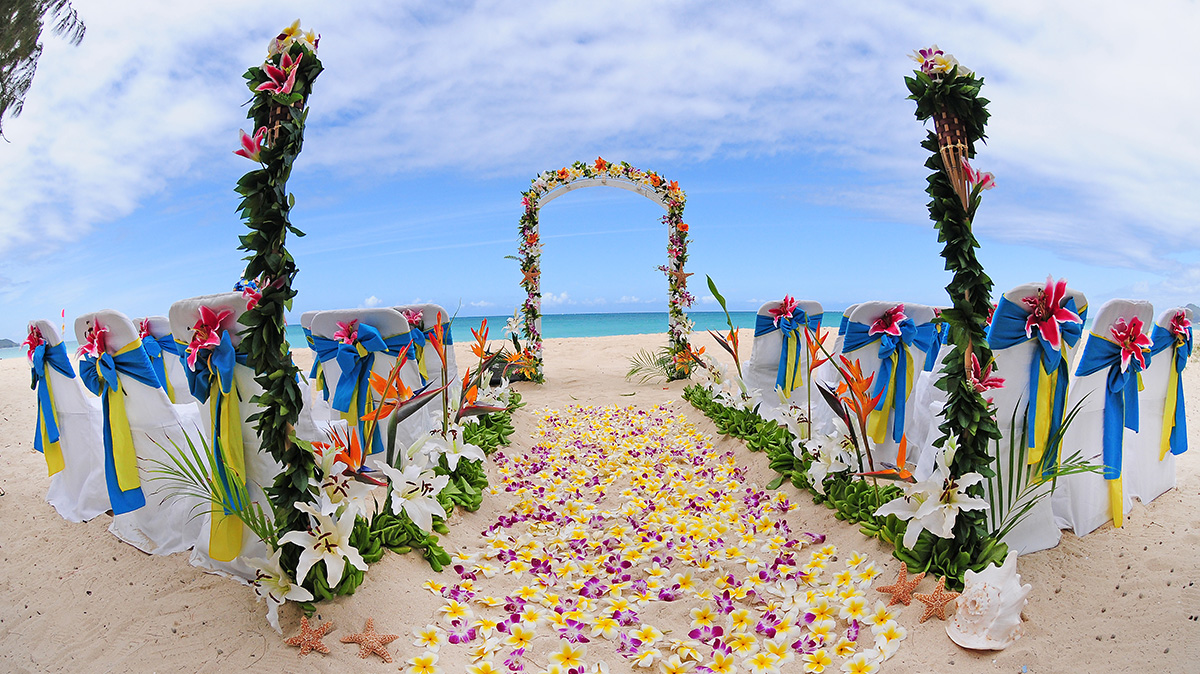 Royal sweet authenic beach design with multi Hawaiian flowers from Oahu