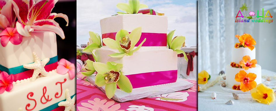 logo of three different Hawaiian wedding cakes on made in Honolulu Oahu