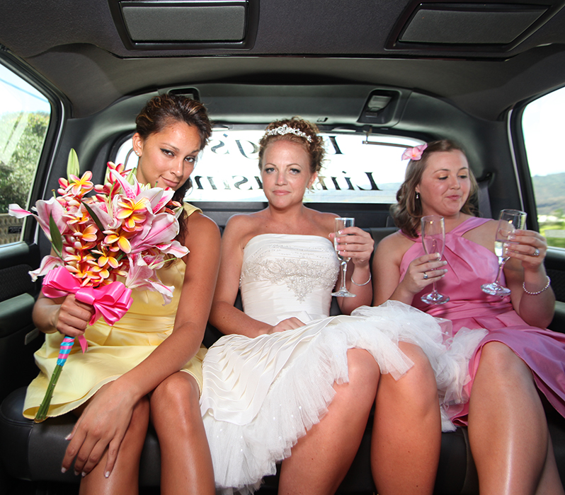 inding in the limo to the wedding site with Karissas bridesmaids