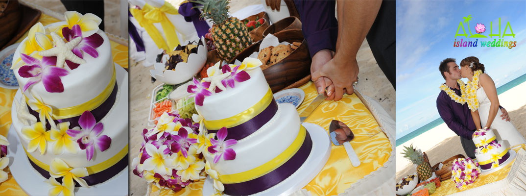 logo cake with purple and yellow theme design