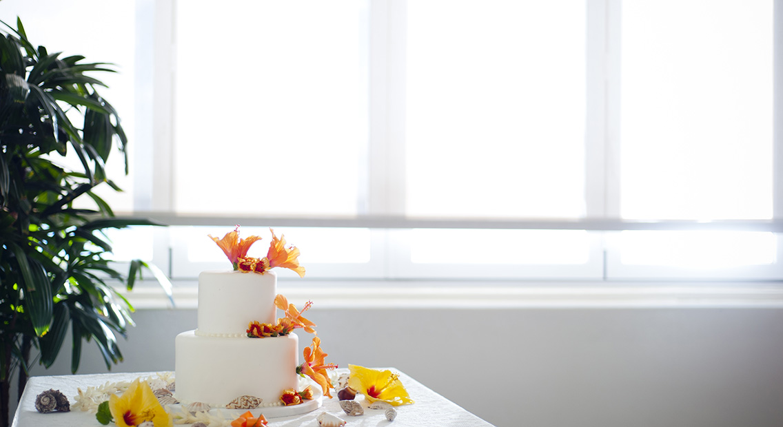 wedding cake against the light of the window