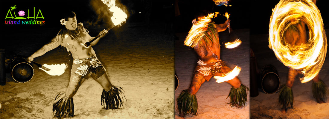 fire dancer at after reception in Waikik beach