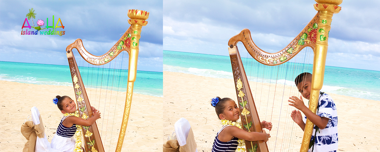 flower girl has fun playign the harp at her moms 10 year vow renewal