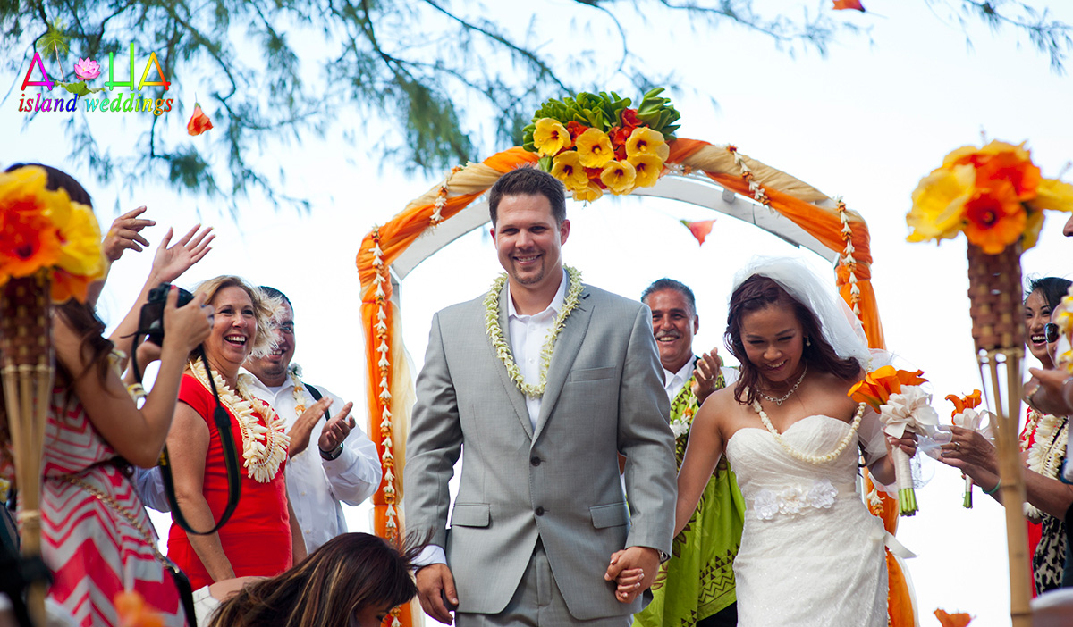 flower shower time with orange hibiscus for wedding in Hawaii