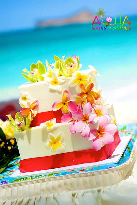 lots of colorful plumeria flowers on this cake