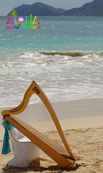 harp by it self on the beach waiting for th wedding to start
