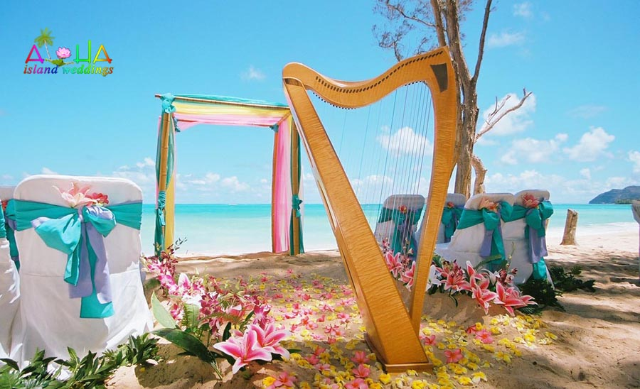 Music for your wedding in hawaii harp on th ebeach at a wedding with flowers of yellow and pink junglespirit Image collections
