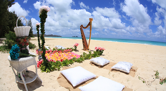 golden harp plays in the wind with pillow and pink runway tropical Hawaii beach wedding