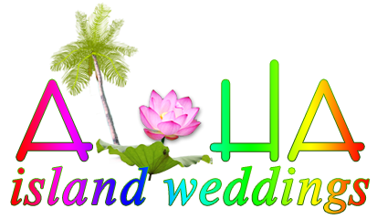logo for aloha island weddings