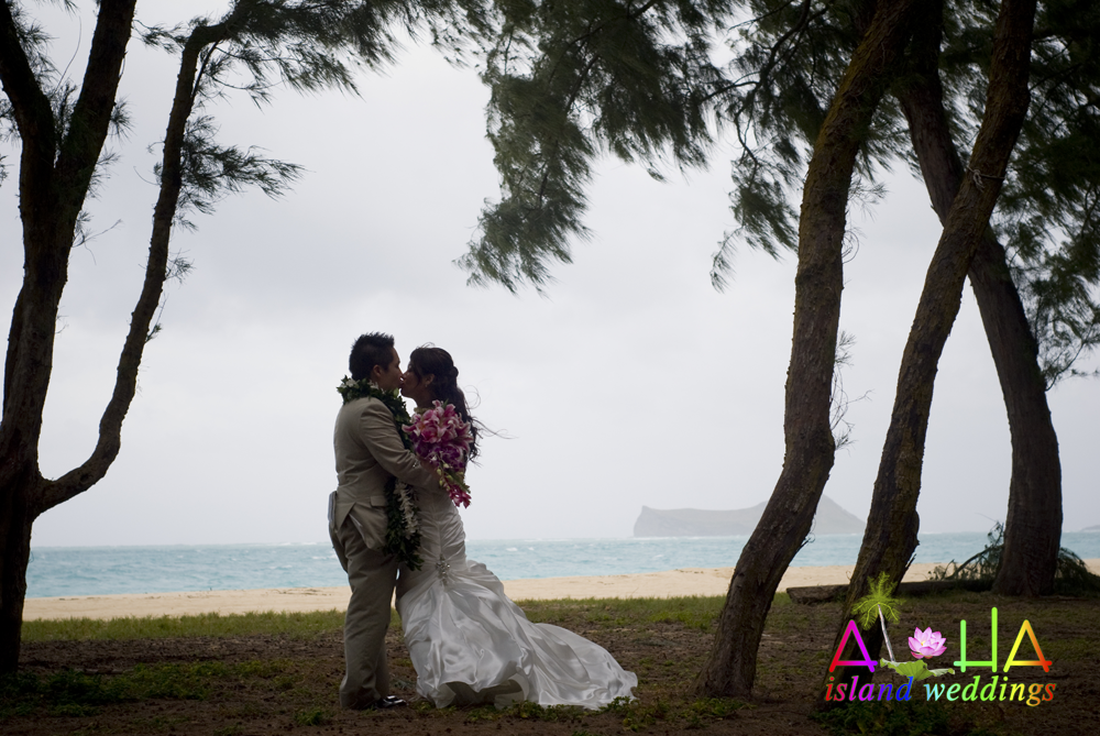 kisssing together in the trees on the beach in Hawaii after their wedding>