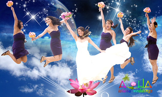 grafix art of the bridesmaids jumping in the air