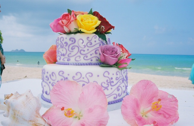 close up of the Hawaii wedding cake on the beach
