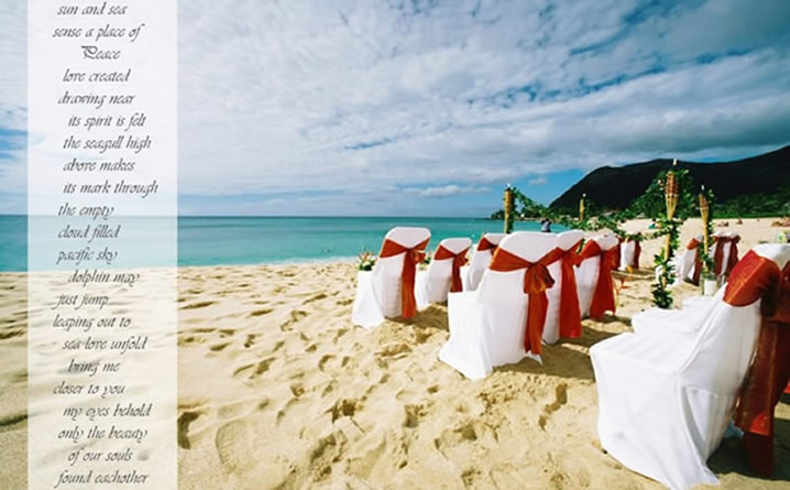 tiki torches line the aisle way for this wedding on the beach in Makaha