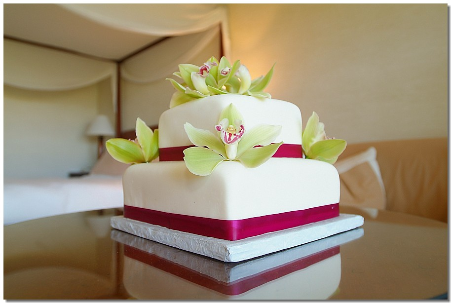 fuscia ribbon cake with green orchid in Hawaii