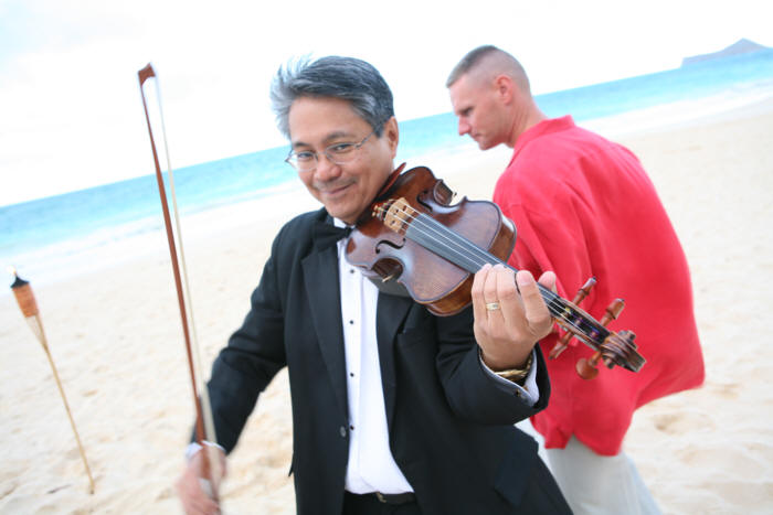 our violinist at a wedding in Hawaii