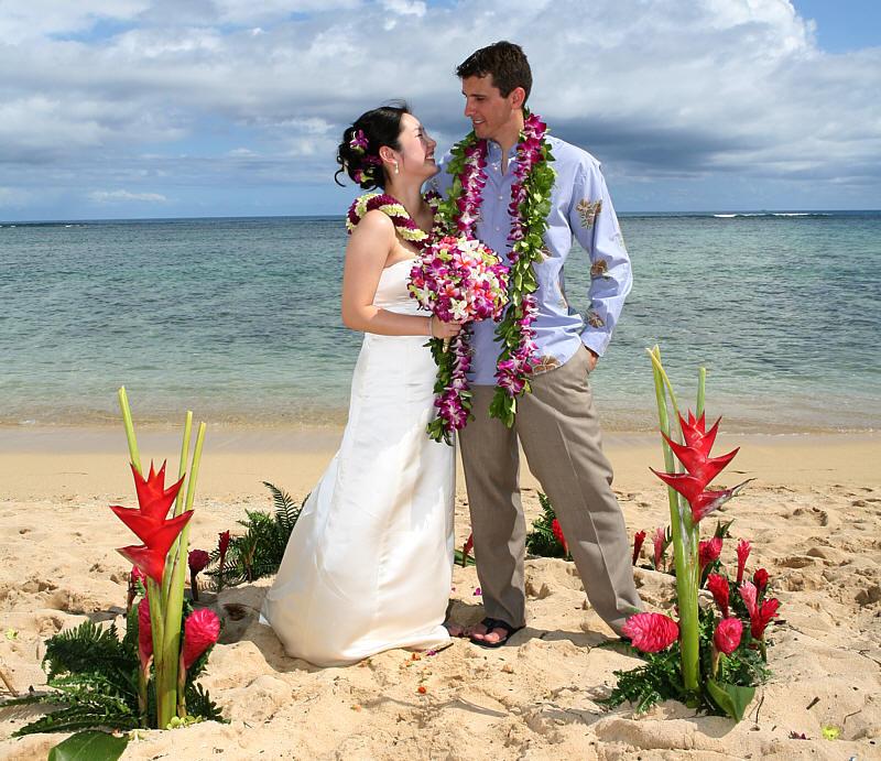 Waikiki Beach Wedding Ceremony: Wedding In Hawaii / Flower Circles And Hearts
