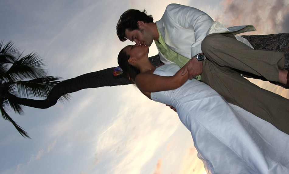kissing after the wedding  with green tie and palm tree
