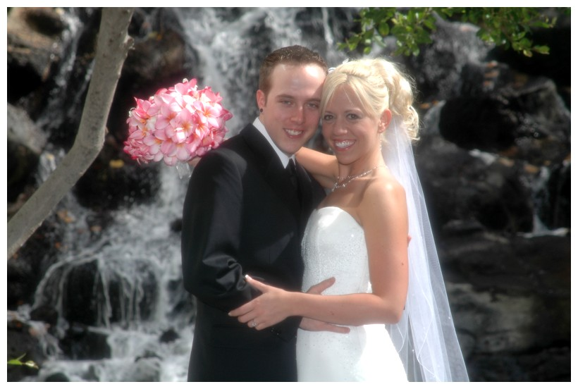 Kahala resort wedding by the waterfall in the gardens at the hotel