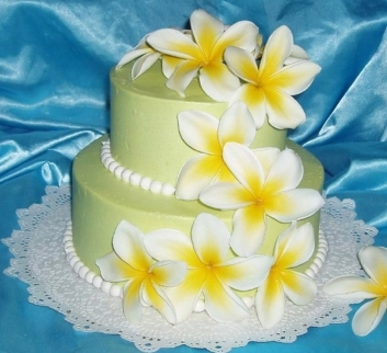 green ligth frosting with yellow hawaiian plumeria flowers