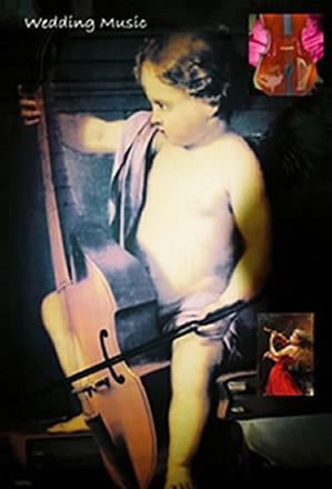 little cherub playing the cello