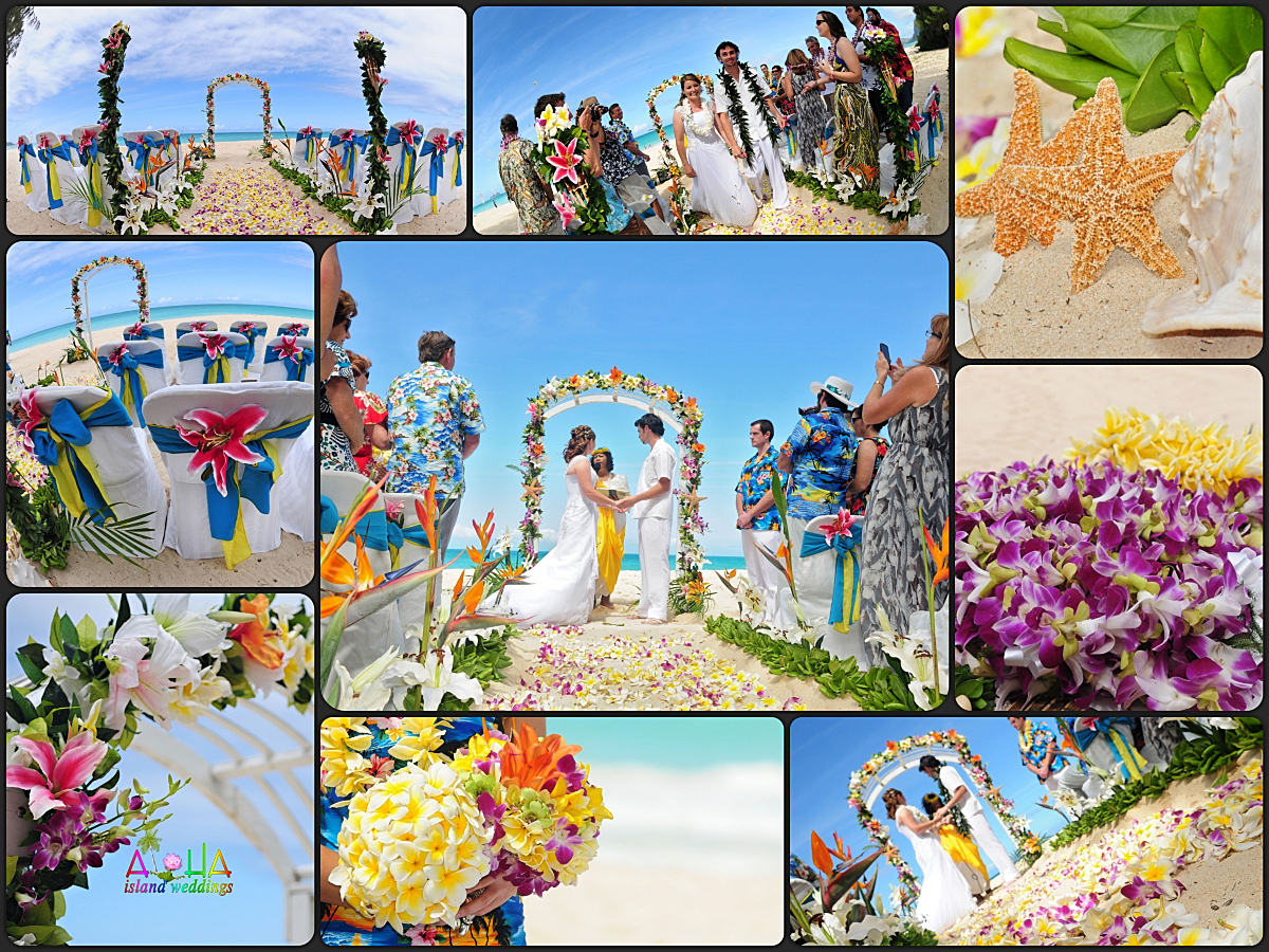 wedding concept design with collage beach setup