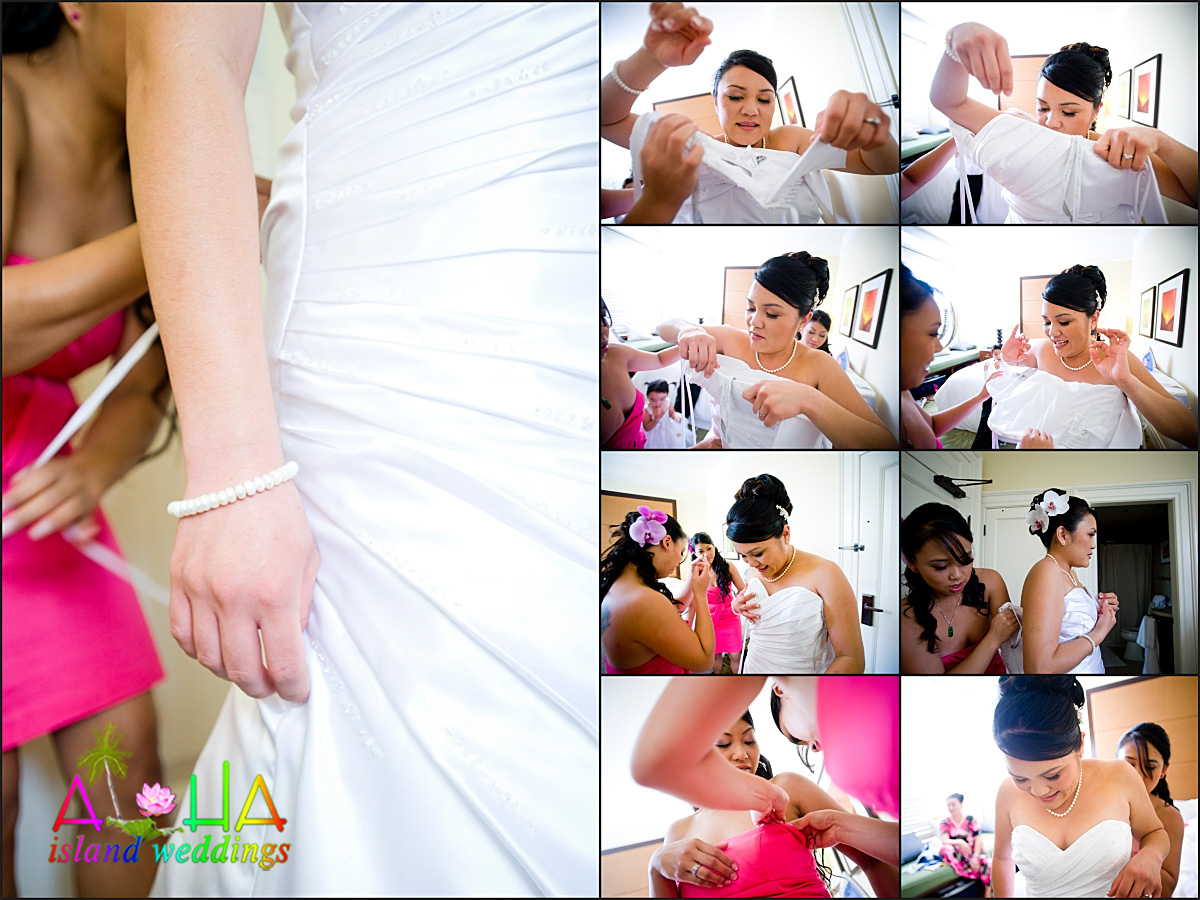 putting on the dress collage leling