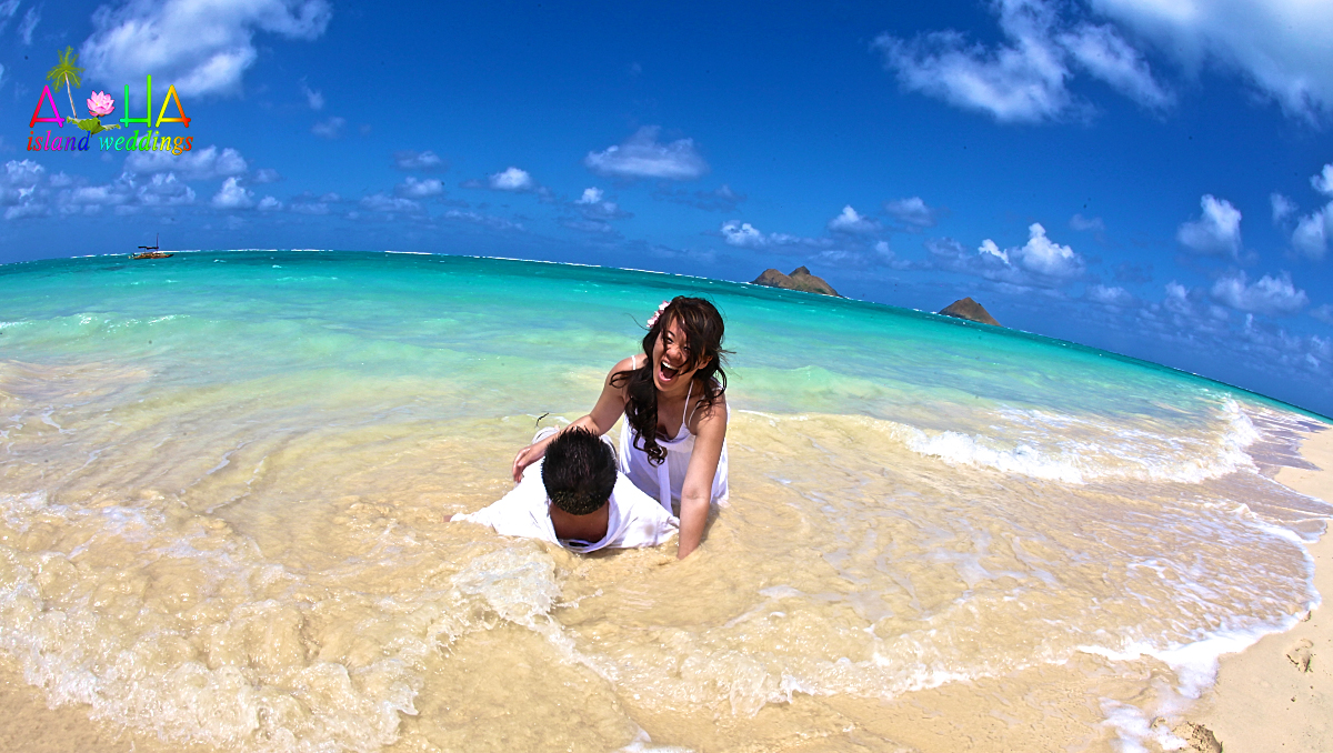 lanikai beauty with the waves of love laughing bride