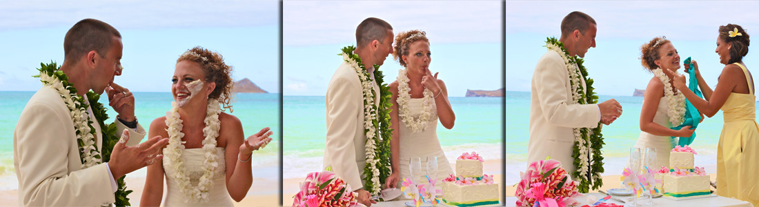 tasting the yummu Hawaiian flavor wedding cake