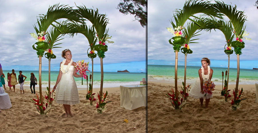 Karissa doing soem poses at her beach wedding under the palm bamboo archway