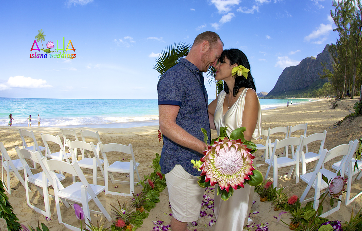 Hawaii weddings bouquets flowers arrangments the large king protea flower bouquet on the beach in hawaii with the kiss of love junglespirit Choice Image