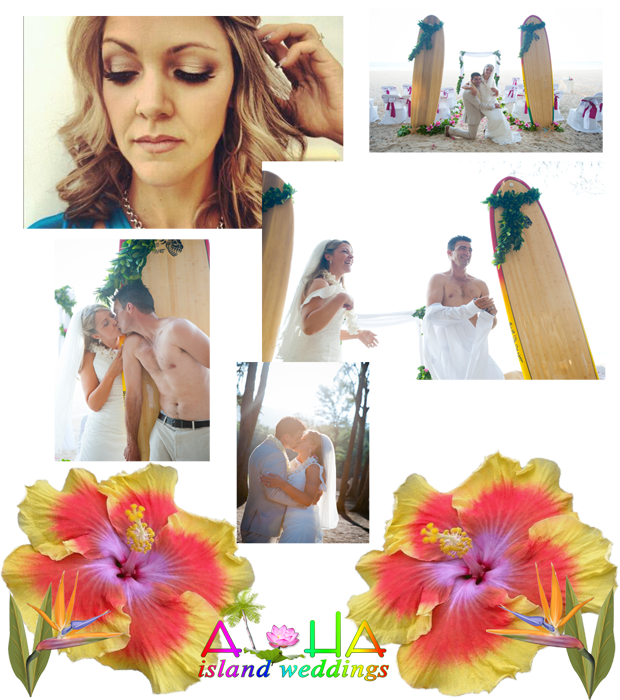 photo of the wedding couple woth the surfboards and ceremony setup