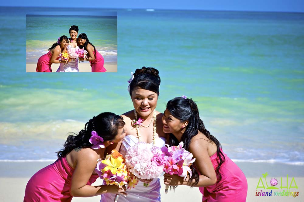 bride with her bridesmaids in Hawaii on the beach