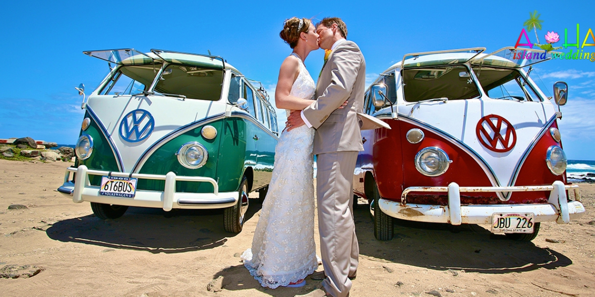Old Combi van the groom rented instead of Limos for his wedding in Hawaii
