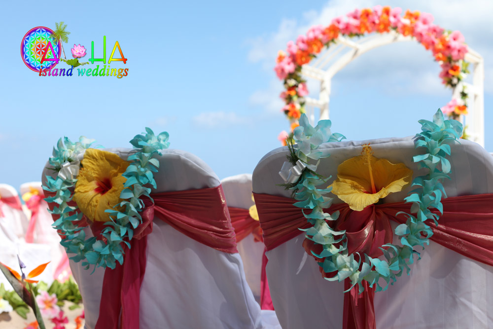 Hawaiian flower wedding leis