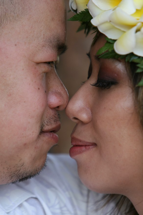 flower plumeria lei on the bride