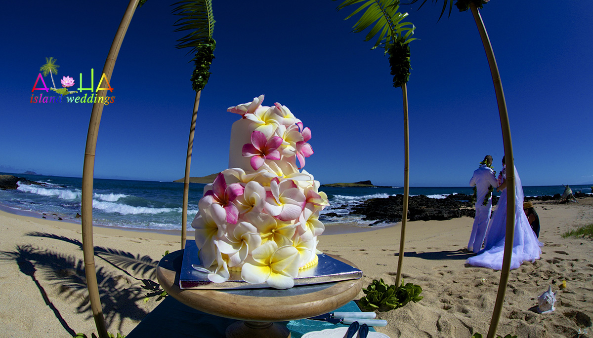 variety of color plumeria cacading down the two tier cake