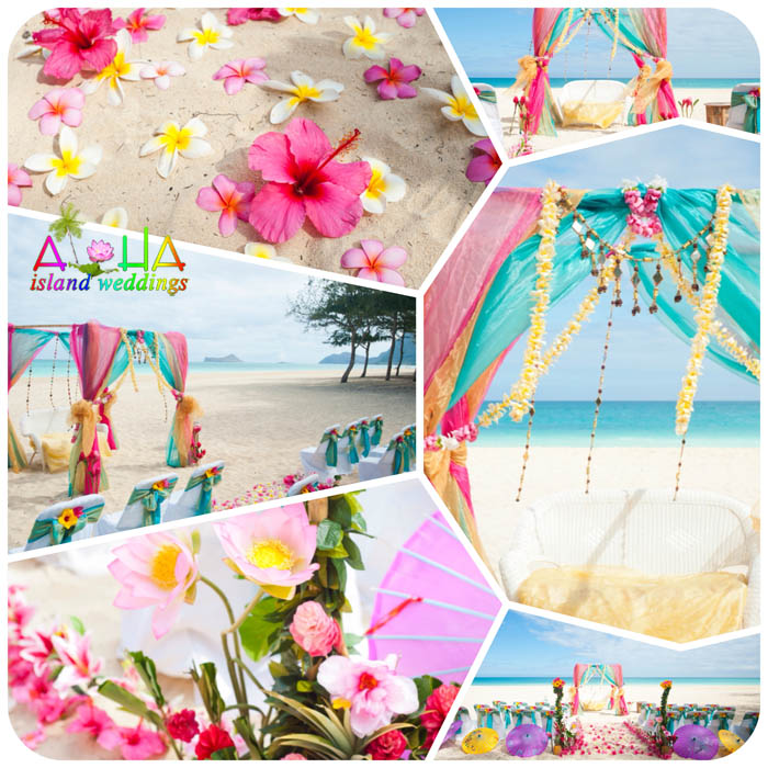 Hawaii indian wedding arch design day in the sun wedding mandup chuppah ceremony