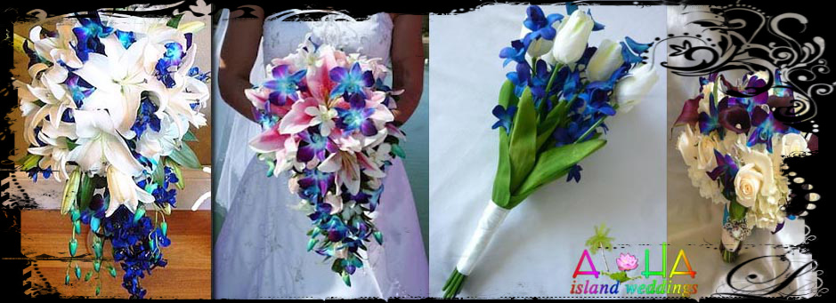 blue theme for wedding flowers in Hawaii
