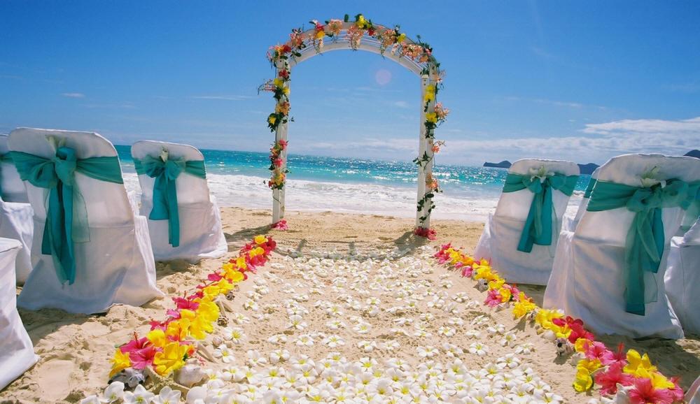 Shawn Aki Wedding Beach Setup At Bellows