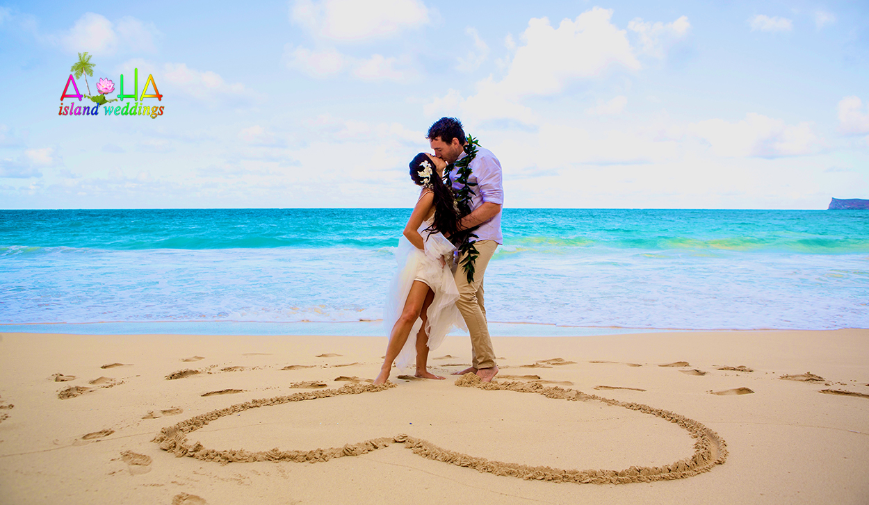 In the heart of love on the beach in Hawaii we promise to love  forever and ever and ever
