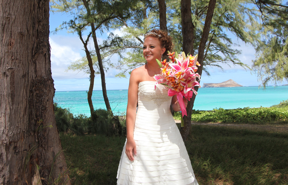 bright pink lilies with rainbow plumeria flowers for karissa wedding