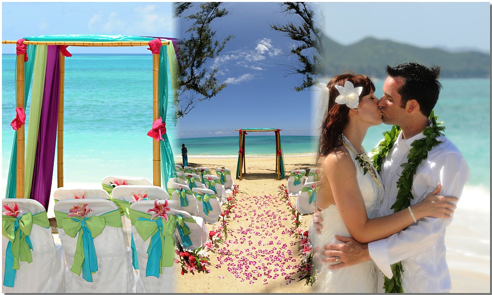 wedding beach design and couple lovign eachother