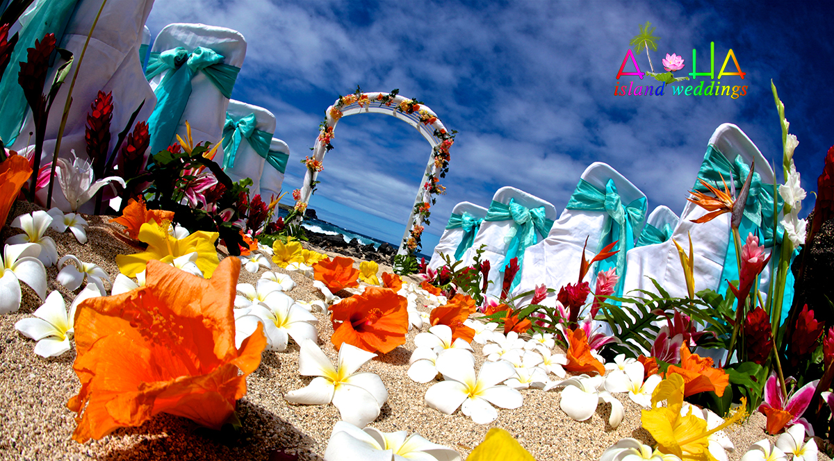 white trellis arch with orange and white hawaiian flowers set on th ebeach of Hawaii